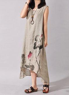 Винтажное платье из лена длины миди с цветочным принтом без рукавов