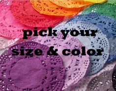 "Hand Dyed Paper Lace Doilies - Custom Listing - Pick Your Size and Colors - sizes 3.5"", 4"", 5"", 6"", 8"" and 10"" available"