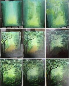 Step By Step Forest Acrylic Painting By Artist Mahith - Step By Step Forest Acr. - Step By Step Forest Acrylic Painting By Artist Mahith – Step By Step Forest Acrylic Painting By - Acrylic Painting Techniques, Art Techniques, Painting Tools, Painting Art, Pour Painting, Underwater Painting, Acrylic Painting Canvas, Watercolor Paintings, Acrylic Art