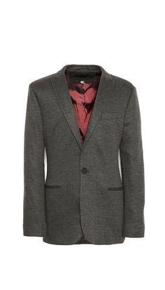 One button peak lapel jetted pocket sweat blazer