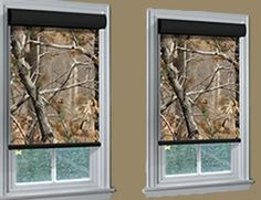 Camo roller shades from Blinds Chalet. Shop our collection of camouflage roller shades and hunting blinds. House Blinds, Blinds For Windows, Window Blinds, Shades Window, Shades Blinds, Camo Home Decor, Camo Bathroom, Camo Rooms, Camouflage Bedroom