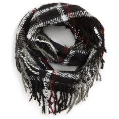 Women's Accessory Collective Fringe Plaid Infinity Scarf (585 UAH) ❤ liked on Polyvore featuring accessories, scarves, black multi, plaid infinity scarves, loop scarves, infinity scarf, fringe shawl and infinity scarves