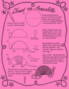 Learn to draw an Armadillo-rodeo/TX unit Art Drawings For Kids, Cartoon Drawings, Animal Drawings, Art For Kids, Jan Brett, Learn Art, Learn To Draw, Art Handouts, Drawing Sheet