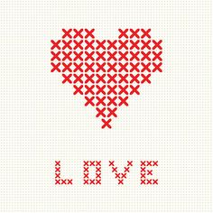 Valentine`s card with embroider heart vektör sanat illüstrasyonu