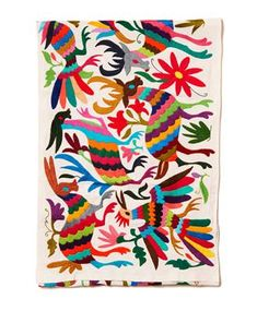 Multi Otomi Cotton Tenago Table Runner Embroidered by skilled Mexican artisans, this traditional Otomi table runner is embellished with lively blue birds and animals. We love to add this our table to make any occasion festive with a global aesthetic. Mexican Embroidery, Hand Embroidery, Textures Patterns, Print Patterns, Textile Prints, Textile Design, Textiles, Pattern Illustration, Dear Santa