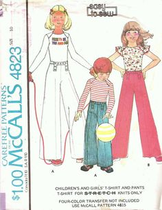 Vintage Sewing Pattern Girls High Waisted Pants T by TenderLane, $10.00