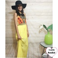 Yellow Maxi Dress Long dress with stretchy top and elastic waist. Chiffon bottom. I am wearing a slip underneath. Slip is also for sale. I am 5'3 and a size 2. Length from the waist down is approx 40in. This item is available. Don't forget to check out my Deal of the Month listing ! Dresses Maxi