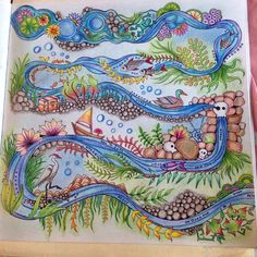 Coloring# Johanna Basford # Enchanted forest # river