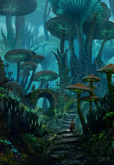 ArtStation - Mushy Land Raphael Lacoste - Pen and Paper -You can find Magical forest and more on our website.ArtStation - Mushy Land Raphael Lacoste - Pen and Paper - Artwork Fantasy, Fantasy Art Landscapes, Fantasy Concept Art, Landscape Art, Fantasy Paintings, Space Fantasy, Digital Paintings, Fantasy Drawings, Character Inspiration Fantasy