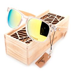 BOBO BIRD Clear Color Wood Bamboo Sunglasses With UV 400 Protection Men's Accessories Awesome Summer Natural Wooden Sunglasses Shops Fashion Styles Website Beach Sunglasses, Sunglasses Price, Wooden Sunglasses, Polarized Sunglasses, Sunglasses Women, Crazy Sunglasses, Stylish Sunglasses, Wayfarer Sunglasses, Wooden Gift Boxes