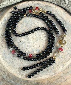 Beautiful golden rainbow obsidian mala necklace