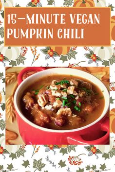Pumpkin Chili, Vegan Pumpkin, Pumpkin Puree, Gluten Free Recipes, My Recipes, Chili Toppings, Black Bean Chili, Kidney Beans