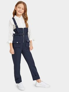Girls Pocket Patched Zip Up Pinafore Jumpsuit With Belt Patched Dresses Kids Girl, Cute Girl Outfits, Kids Outfits Girls, Teenager Outfits, Cute Casual Outfits, Girls Fashion Clothes, Tween Fashion, Fashion Outfits, Simple Fall Outfits