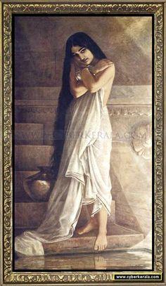 At the Bath - A malayali lady near pond. Oil painting on canvas by Raja Ravi Varma - Kowdiar Palace, Thiruvananthapuram, Kerala.