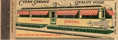 1940′s Full Length Diner Matchcover – Avon Grill – Cincinnati, OH    Be sure to check out all of our Vintage Diner Matchbook Covers at http://matchcoverguy.com/category/diners/