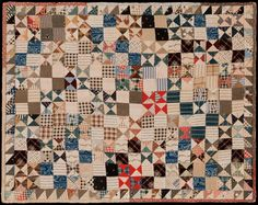 "circa 1895 Triangles Variation ~ Bowtie and Fourpatch  17.5""x 21.75"""