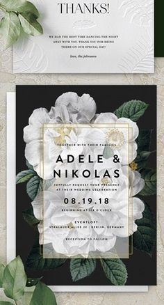 Black, white and green wedding invitations with gold details and flowers | Bridal stationery suite from Greenvelope | Bride-to-Be Giveaway! Green Wedding Invitations, Creative Wedding Invitations, Paper Goods, Save The Date, Giveaway, Stationery, Black White, Place Card Holders, Bride