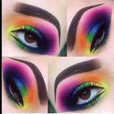 Amazing rainbow eye make up! (sugarpill Majestic rainbow eyes by using and eyeshadows! Eye Makeup Tips, Makeup Goals, Makeup Inspo, Eyeshadow Makeup, Makeup Art, Makeup Inspiration, Beauty Makeup, Makeup Ideas, Smokey Eyeshadow