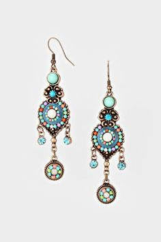 Kira Chandelier Earrings in Sky