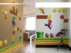 beautiful wall decals with Super Mario Home Wall Decor, Room Decor, Beautiful Wall, Super Mario, Wall Decals, Home Goods, Kids Rugs, Creative, Dekoration