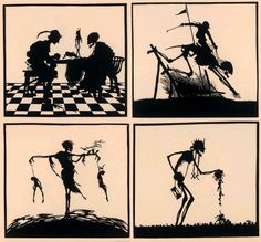 Part II of a papercut Totentanz/ Dance Macabre from 1922 by German artist Walter Draesner. Pic1: Death and the gambler Pic2: Death and the equestrian Pic3: Death on the gallows Pic 4: Death is random