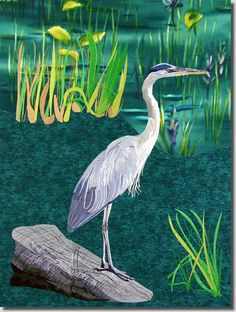Large Blue Heron  The Large Blue Heron joins our Peacock and Snowy Egret in our large bird series. You will receive full instructions on an easy way to line up these designs! You will also receive the entire Heron split into two files for commercial or large hoop machines. (these two designs are supplied in DST format)  The heron with just one section on the log he is standing on is 18 inches high by 10.5 inches wide.