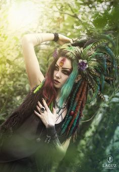 Model, styling: Psychara Headdress: Pioro Blue Potographer, post process: Laguz photography     www.patreon.com/Machinefairy   #2017  #conceptual #cosplay #dreads #enchanted #fable #fairytale #fantasy #feathers #female #flowers #forest #forestgirl #girl #gothgirl #green #hair #headpiece #lenses #make #up #model #mystical #mythological #natural light #pagan #photoshop #pioro #blue #pose #psychara #red hair #roleplay #story #strega #style #Woodland #yellow #yellow #eye