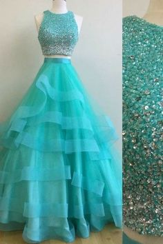 On Sale Outstanding Sequin Prom Dresses, Green Two Pieces Sequin Tulle Long Prom Dress, Green Evening Dress Pretty Prom Dresses, Sequin Prom Dresses, Prom Dresses Two Piece, Dance Dresses, Homecoming Dresses, Cute Dresses, Quinceanera Dresses, Formal Dresses, Dress Prom