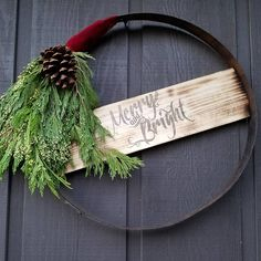 "(@franco.noce) on Instagram: ""Had a ton of fun putting together this rustic wreath made from a wine barrel steel hoop. The sign…"" Wine Barrel Rings, Wine Barrel Crafts, Wine Barrel Furniture, Barrel Projects, Christmas Crafts, Christmas Decorations, Wine Decor, How To Make Wreaths, Holiday Wreaths"