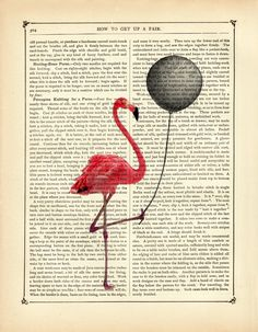Pink Flamingo holding a black balloon Vintage by curiousprintery