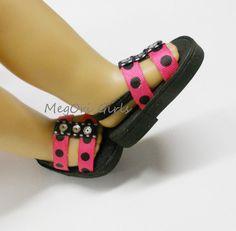 Fuchsia pink with black pokadots sandals