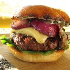<3 Grilled Burger with Cheddar & Lemon Garlic Aioli