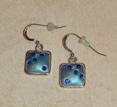 Swarovski Blue Sapphire Crystal Clay Dangle Earrings. $24.00, via Etsy.