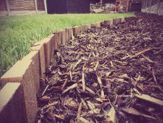 Pallet lawn edging Wood Garden Edging, Lawn Edging, Wooden Garden, Recycled Pallets, Wood Pallets, Pallet Wood, Pallet Ideas, Lawn Care Companies, Top Soil