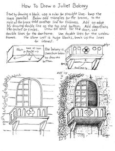 Comment dessiner un balcon de Juliette feuille de travail imprimable gratuit