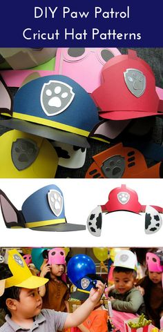 DIY Cricut and other cutting tools DIY Paw Patrol hats - perfect for paw patrol birthday party. #pawpatrol #ad #kidsbday #birthdayparty