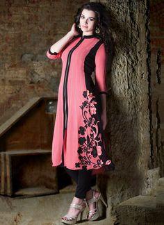 Pink #Georgette Long #Kurti