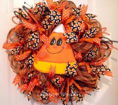 Halloween Wreath, Halloween Deco Mesh Wreath, Deco Mesh Wreath, Trick or Treat Wreath, Candy Corn Wreath by LadySlipperWreaths on Etsy