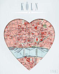 Wanddeko - Herz KÖLN... A4 Print - ein Designerstück von GALERIE-IM-WANDEL bei DaWanda