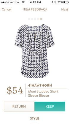 41 Hawthorn Moni Studded Sleeve Blouse The colors are great and I'd love to see what it looks like on.