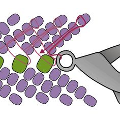 Petersburg Stitch basic diagram ~ Seed Bead Tutorials Discovred by : Linda Linebaugh Beading Patterns Free, Seed Bead Patterns, Beaded Bracelet Patterns, Beading Projects, Beading Tutorials, Fusion Beads, Beading Techniques, Seed Bead Jewelry, Seed Beads