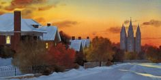 This winter view of First Avenue includes the fence line that leads to Brigham Young's burial site. At one time this was the Northeast corner of his property. Utah Temples, Brigham Young, Church History, Lds Church, Salt Lake City, Fence, Corner, Watercolor, Fine Art
