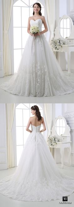 Elegant tulle sweetheart neckline ball gown wedding dress with lace appliques. Turn your dream into reality! (WWD67372) - Adasbridal.com