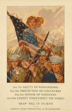 An image of a mother and child with the American flag, floating above a mass of soldiers with bayonets from WWI - A simple message that makes a big statement.   https://www.etsy.com/listing/70068141/world-war-1-poster-for-the-safety-of #ww1#poster#women