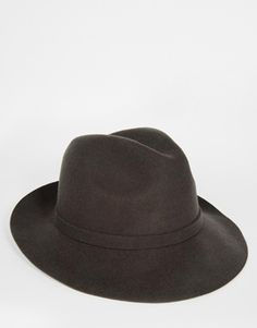 ASOS Fedora Hat In Charcoal Felt
