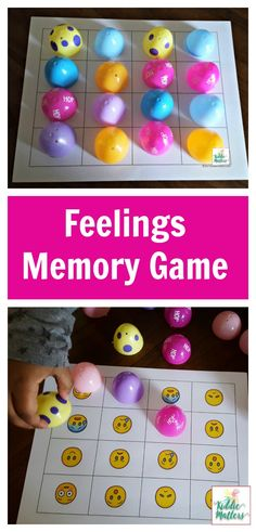 Plastic Easter eggs feelings memory game to help kids learn how to identify feelings