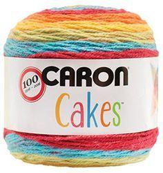 Caron Cakes Self Striping Yarn 383 yd 200 g (Rainbow Sprinkles). I Love Caron Cakes! Crochet Crafts, Crochet Yarn, Yarn Crafts, Crochet Stitches, Free Crochet, Crochet Afghans, Crochet Flowers, Baby Afghans, Crochet Tops