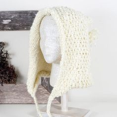 Knit Bonnet Style Hat with Ties and a Pom  Pale by AnotherCup,