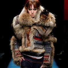 Beautiful furs from the @dsquared2 runway show. She should look happier, I'd be thrilled wearing a coat like that! #mfw