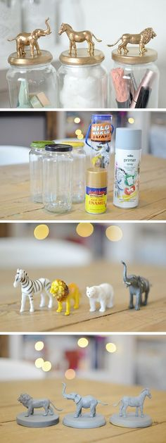 DIY Cute Gold Animal Jars